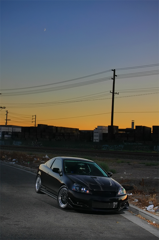 Black Acura RSX In The Sunset Light on Black Rims! - Rpm City