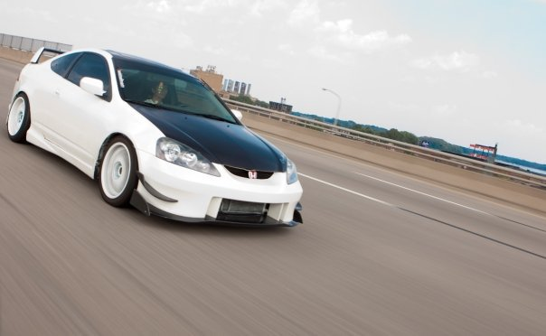 beautiful white acura rsx rolling