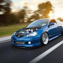 Blue Acura RSX Hoodless.